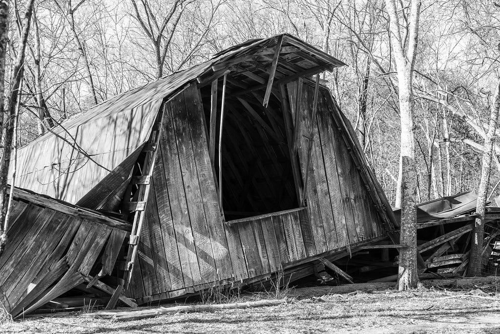 Collapsed Wooden Barn. Black and white photograph by Keith Dotson. Click to buy a fine art print of this photograph.