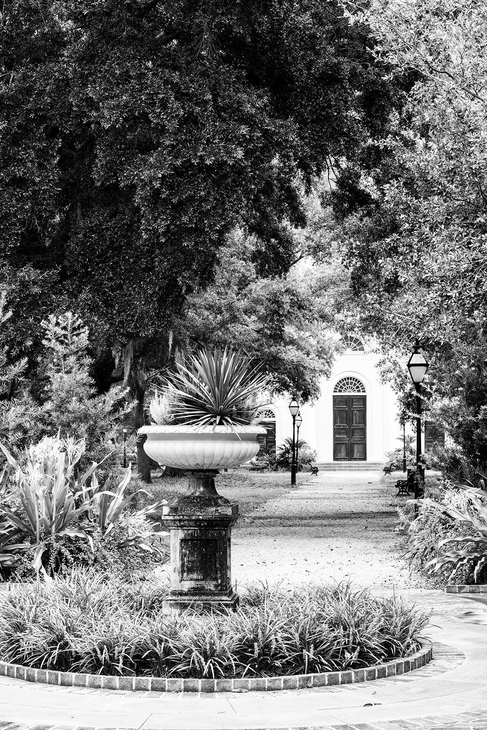 Charleston Wragg Square - Black and White Photograph