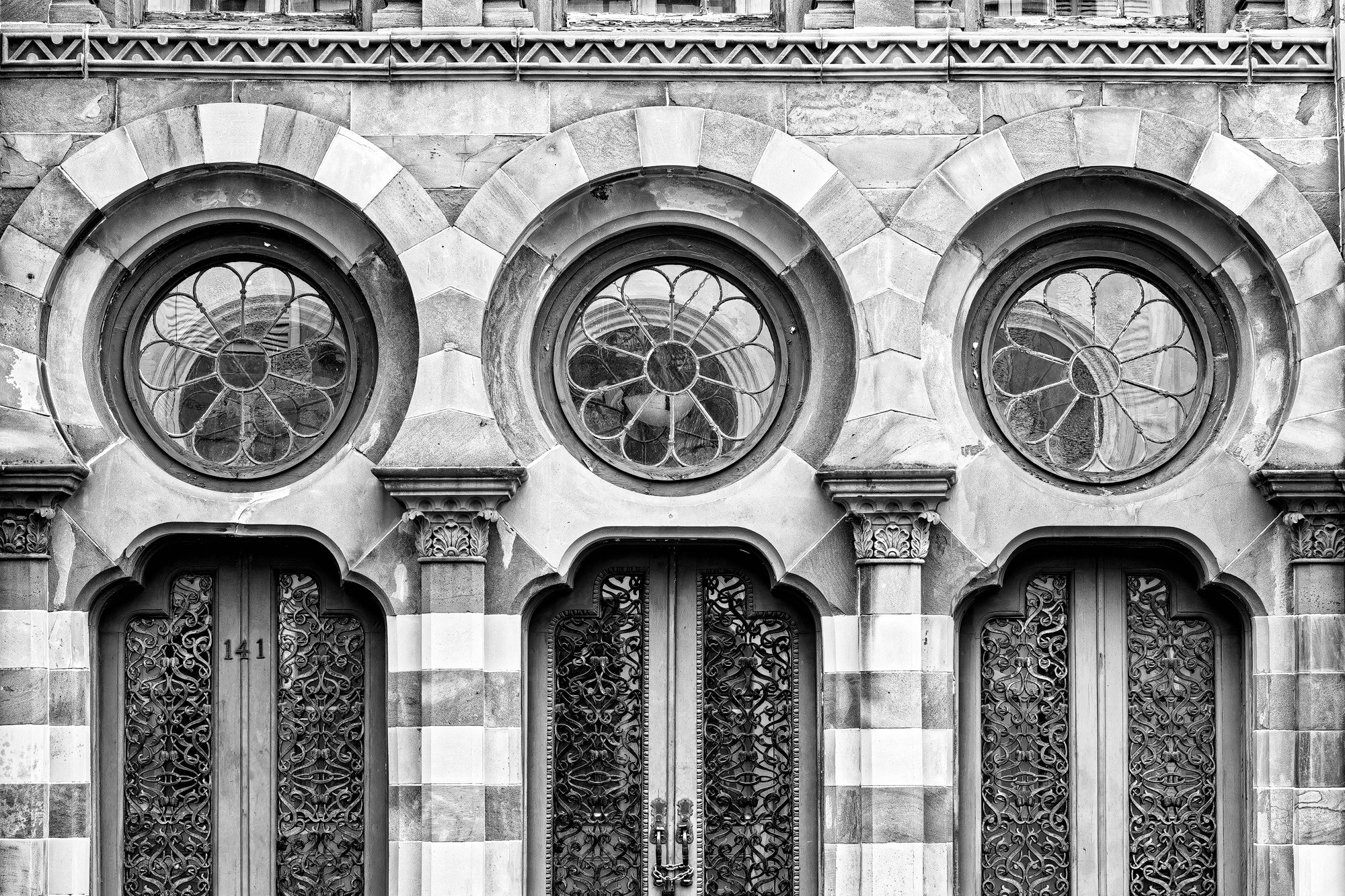Old Farmers and Exchange Bank in Charleston (Detail) - Black and White Photograph by Keith Dotson. Buy a fine art print here.