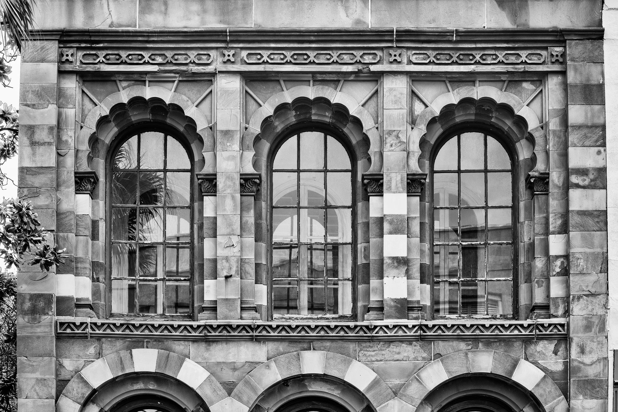 Front of Farmers and Exchange Bank in Charleston - Black and White Photograph by Keith Dotson. Buy a print here.