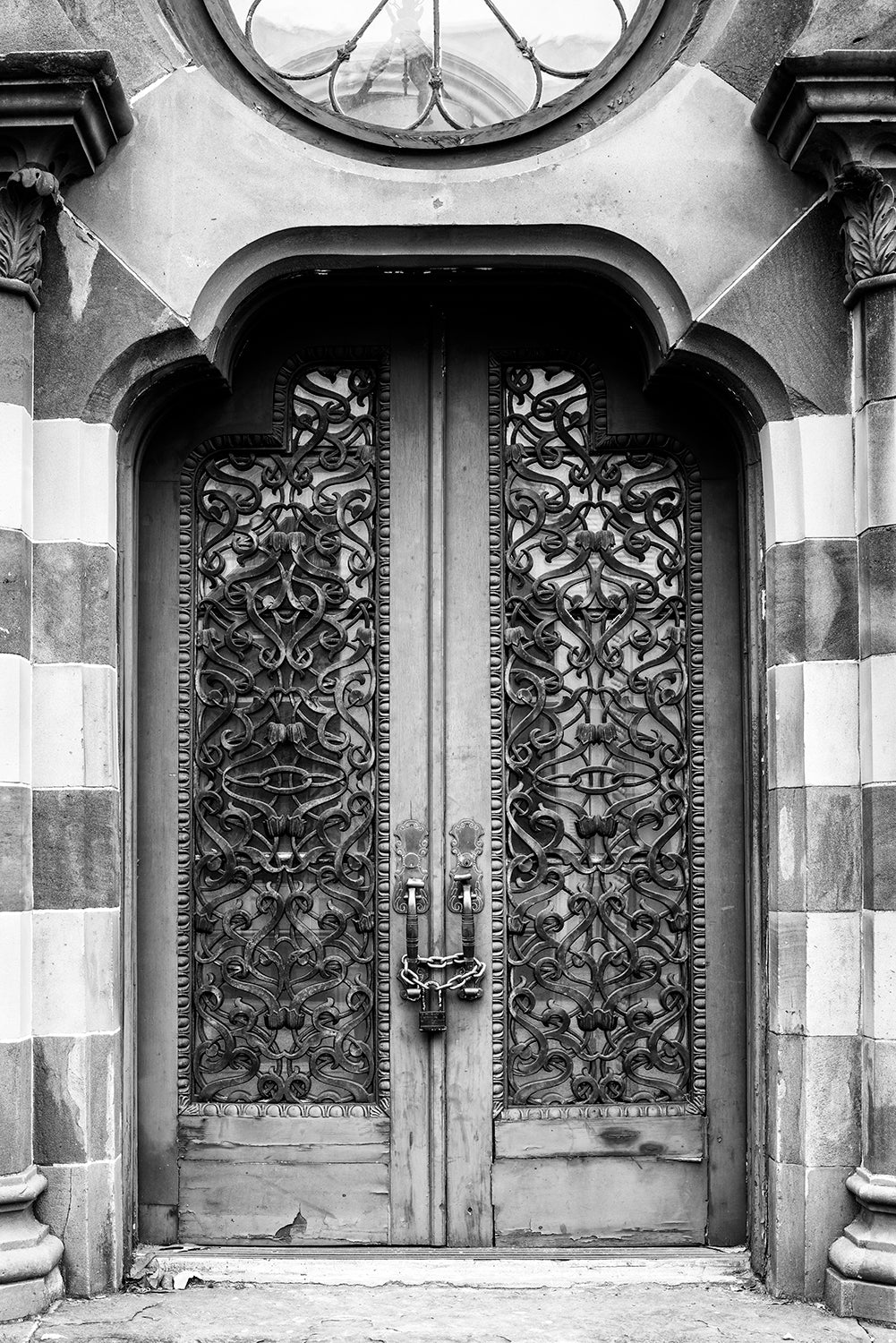 Front Doors of Old Farmers and Exchange Bank in Charleston - Black and White Photograph by Keith Dotson. Buy a fine art print.
