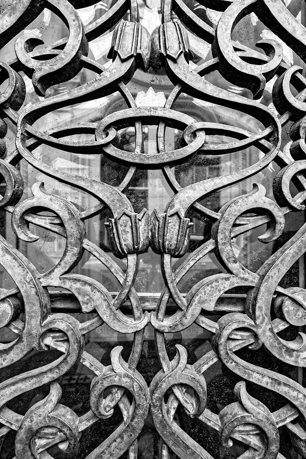 Historic Charleston Ironwork Detail - Black and White Photograph by Keith Dotson. Buy a fine art print.