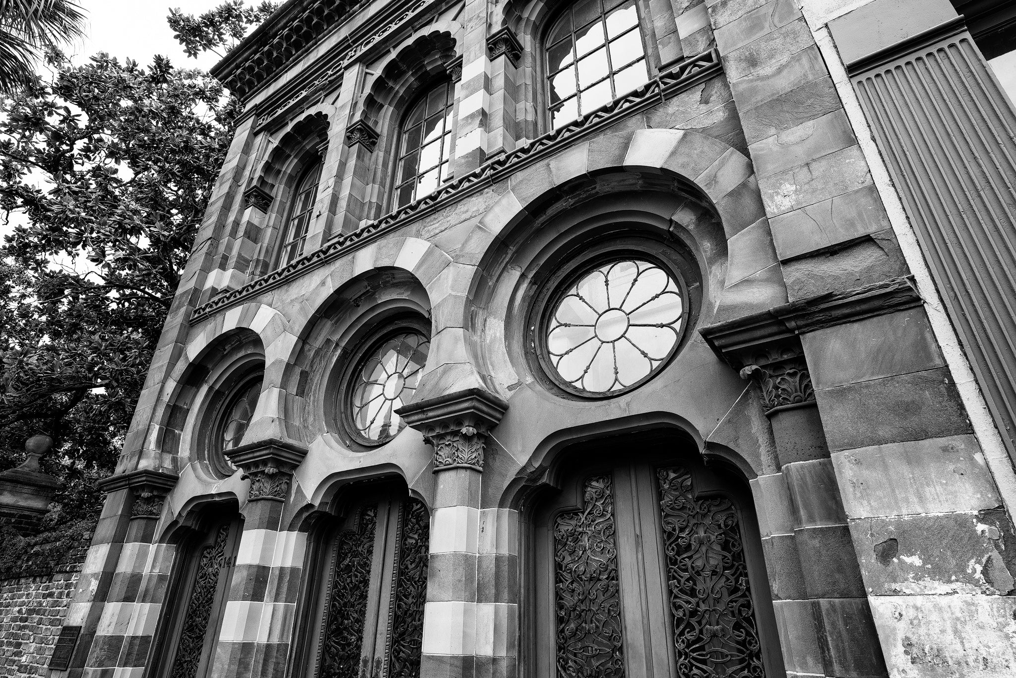 Front of the Old Farmers and Exchange Bank in Charleston - Black and White Photograph by Keith Dotson. Buy a print here.
