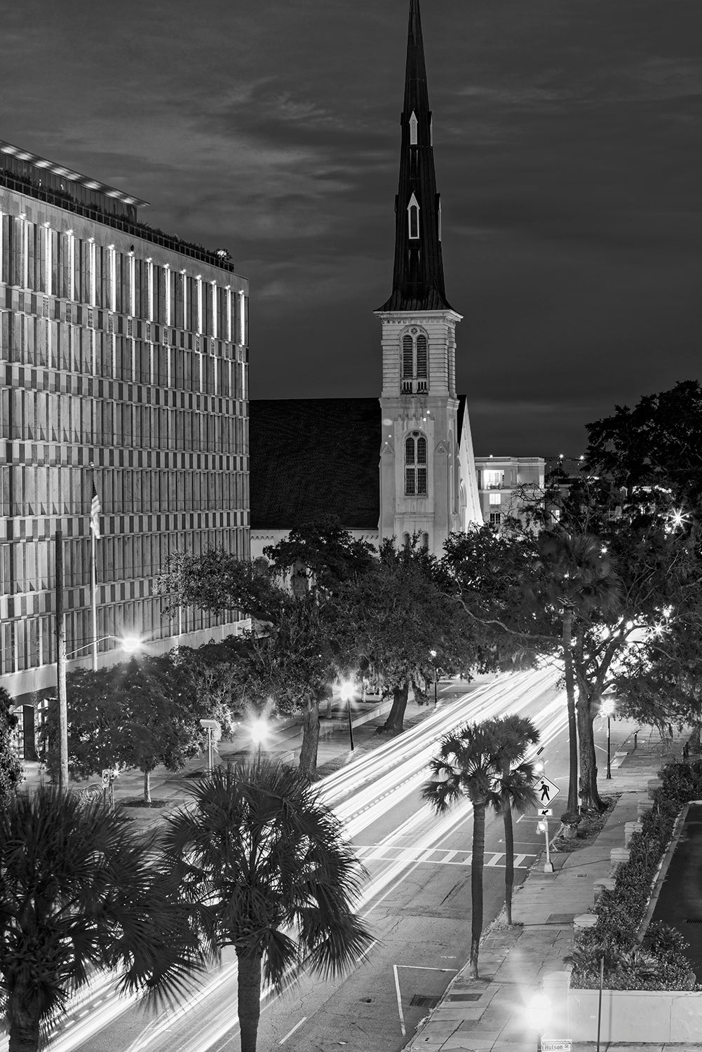 View of Charleston at Twilight - Black and White Photograph by Keith Dotson. Buy a print.