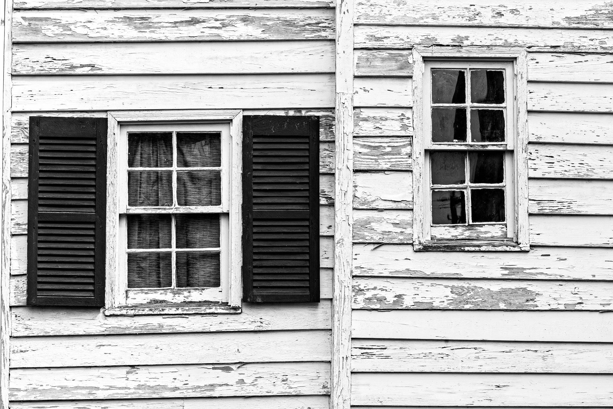 Charleston Two Windows of an Old House - Black and White Photograph by Keith Dotson. Buy a fine art print.