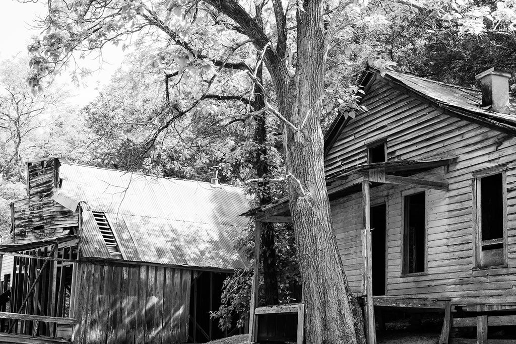Abandoned Buildings at Rush Ghost Town Black and White Photograph by Keith Dotson
