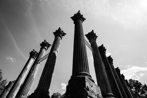 The tall columns at Windsor Ruins, black and white photograph by Keith Dotson.