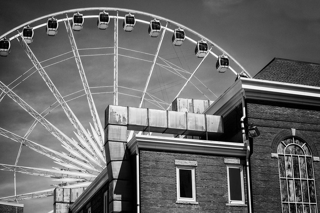 Giant White SkyVue Ferris Wheel in Downtown Atlanta, black and white photograph by Keith Dotson. Buy a fine art print.