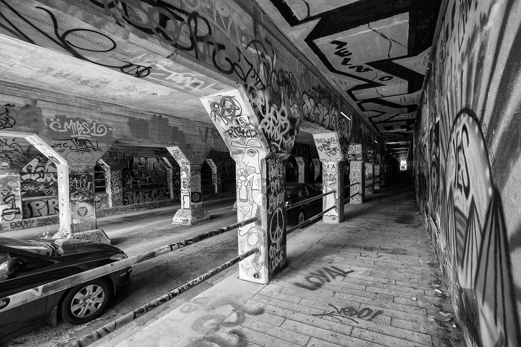 Krog Street Tunnel Graffiti Site in Atlanta, black and white photograph by Keith Dotson. Buy a fine art print.