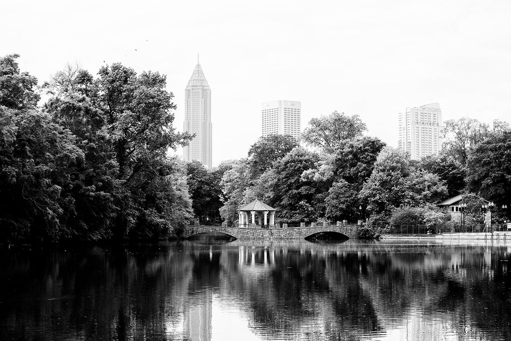 Lake Clara Meer at Piedmont Park in Midtown in Atlanta, black and white photograph by Keith Dotson. Click to buy a fine art print.