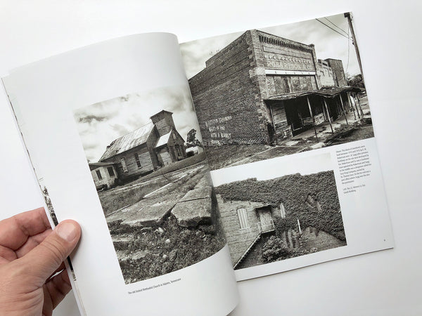 Spread from Keith Dotson's book of abandoned places featuring photographs of downtown Adams Tennessee