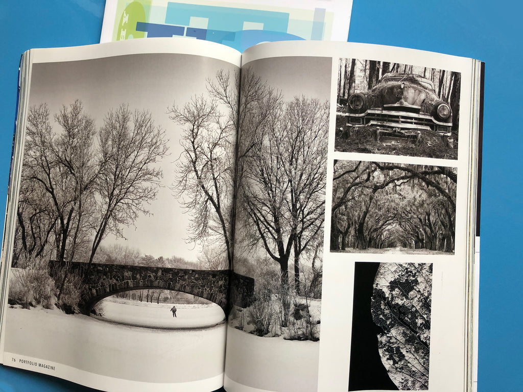 A spread from Naples, Florida-based Portfolio Magazine featuring black and white photographs by Keith Dotson