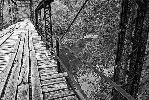 One Lane Bridge, a black and white photograph by Keith Dotson. Buy a print here.