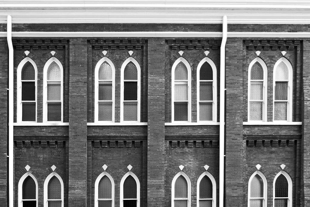 Windows of Ryman Auditorium in Nashville. Buy a fine art photo.