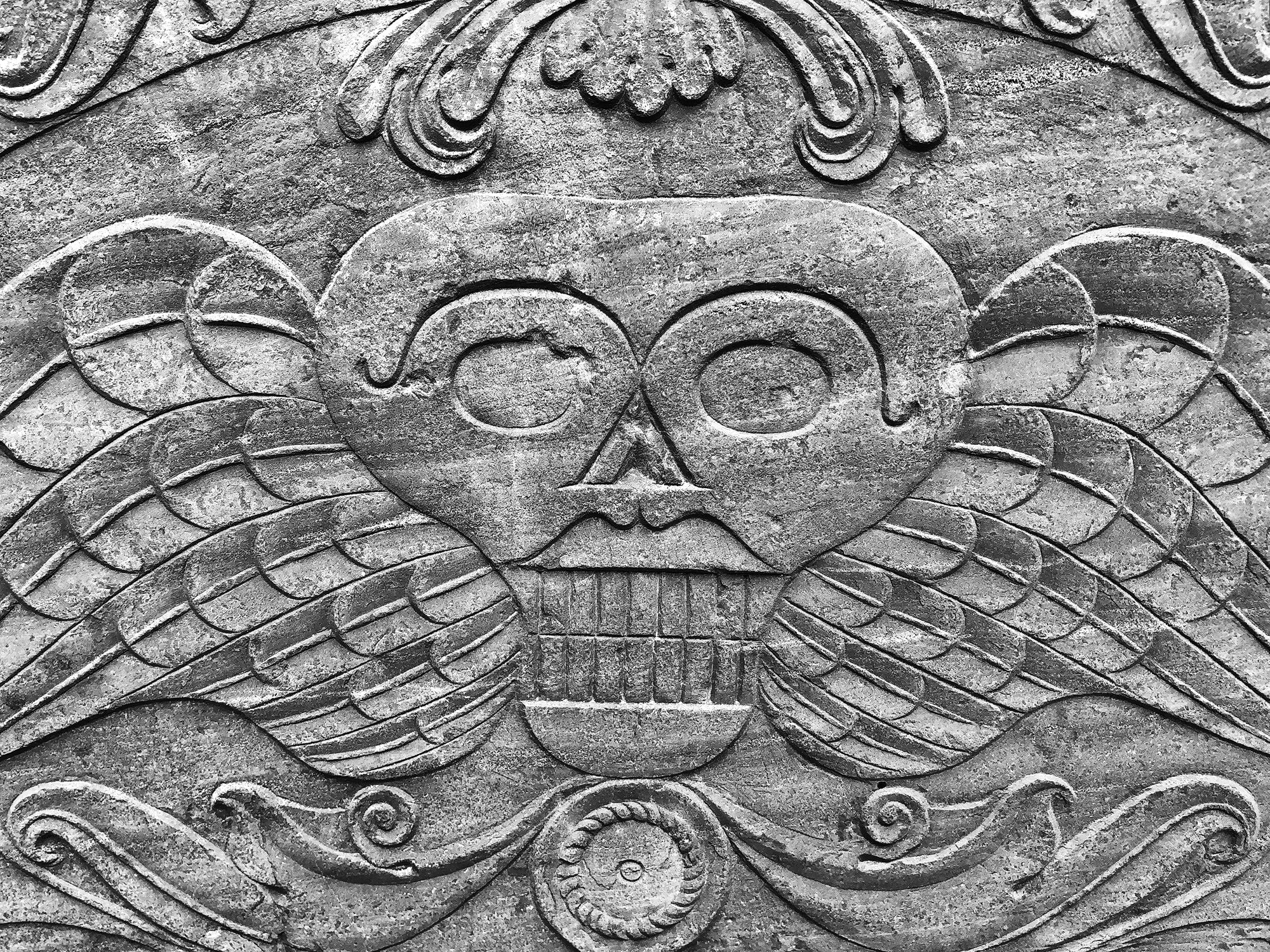 Winged Skull Gravestone Design Mid-1700s - Black and White Photograph by Keith Dotson. Buy a fine art print.