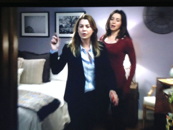 Actresses Ellen Pompeo (Dr. Meredith Grey) and Caterina Scorsone (Dr. Amelia Shepherd) appear in a scene from Grey's Anatomy, with two photographs by Keith Dotson visible on the back wall.