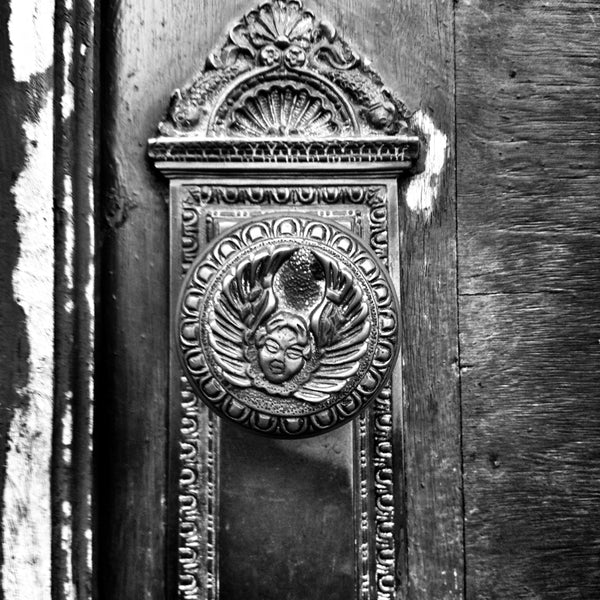 A black and white photo of an antique doorknob from Keith Dotson's Instagram feed.