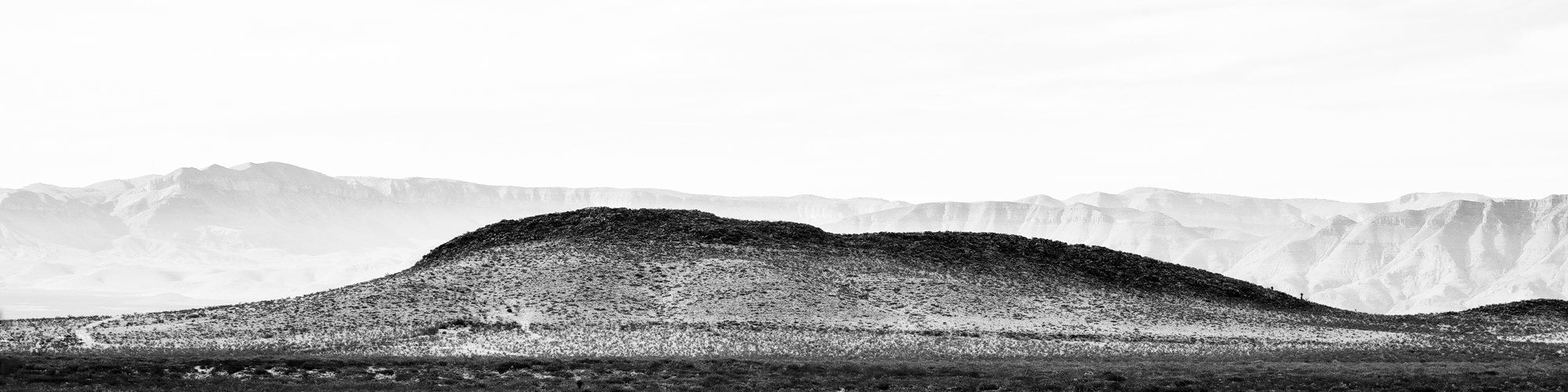Desert Mountain Panorama: Black and White Landscape Photograph by Keith Dotson.