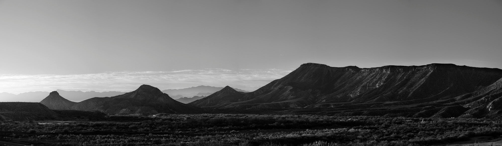 West Texas Mountain Panorama. Black and White Photograph by Keith Dotson. Buy a fine art print.