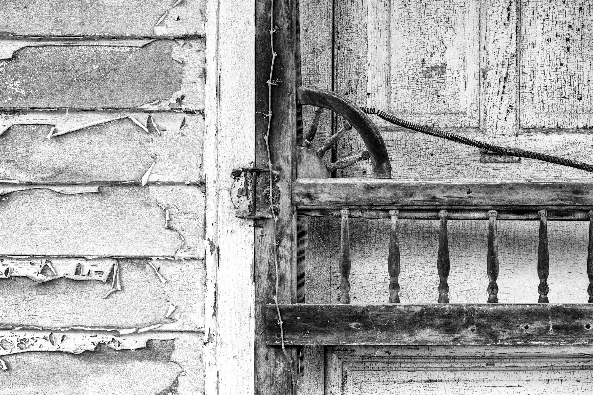 Woodwork Details on an Abandoned Country Store: Black and White Photograph by Keith Dotson. Buy a fine art print.