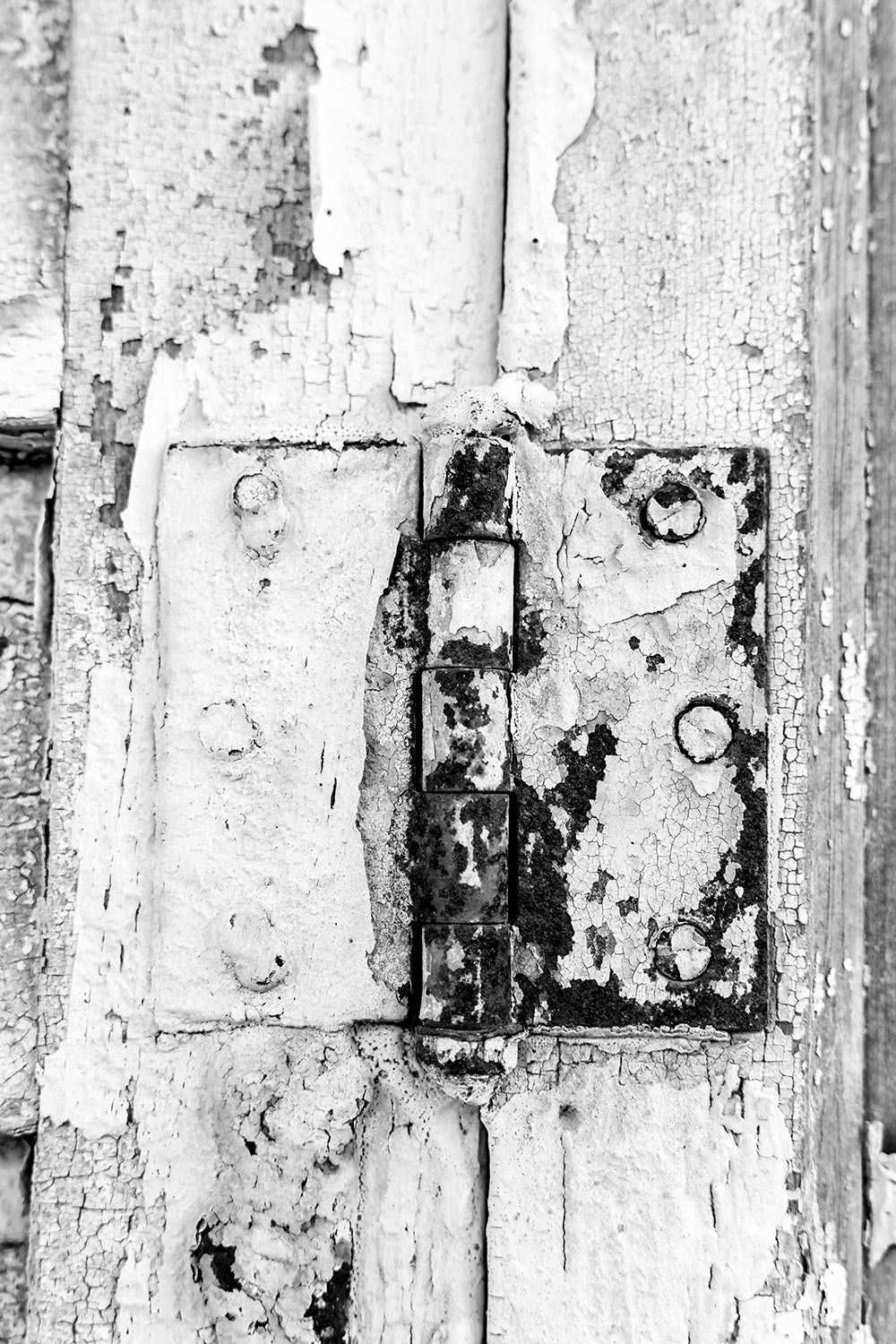 Rusty Door Hinge on an Abandoned Building: Black and White Photograph by Keith Dotson. Buy a fine art print here.