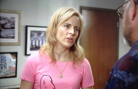 "A scene from ""Lady Dynamite,"" with Keith Dotson's photograph visible over the shoulder of actress/comedian Maria Bamford."