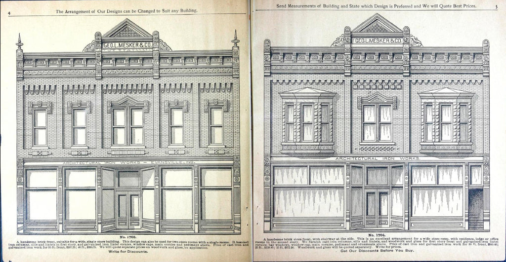 A spread from the Mesker catalog features lavish illustrations of available facade designs.