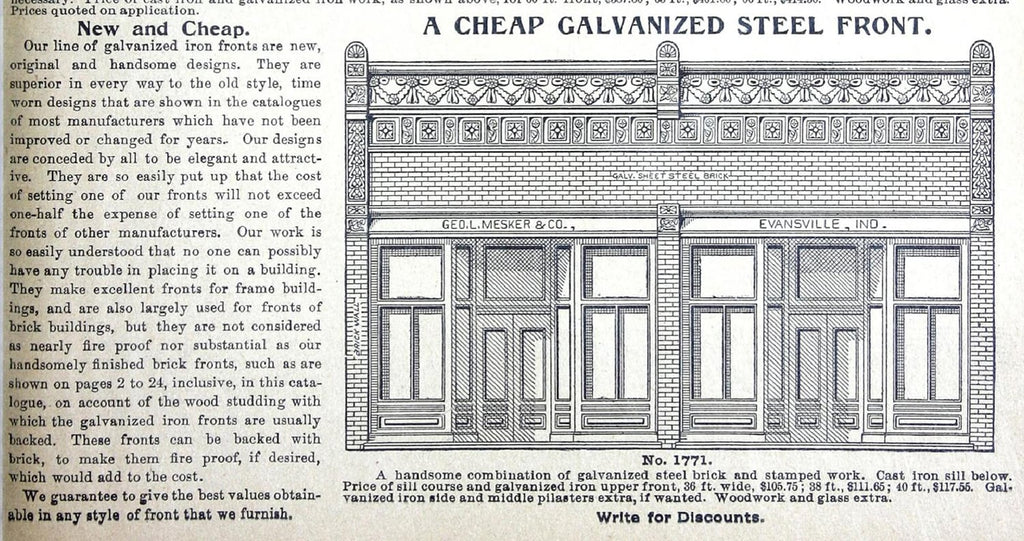 Text and an illustration from the Mesker and Company catalog.