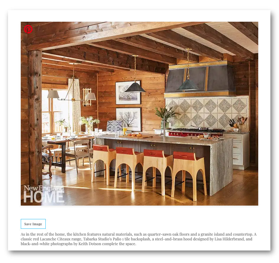 Two photographs by Keith Dotson can be seen in this beautiful, rustic kitchen, designed by Lisa Hildebrand, with photograph by John Bessler.