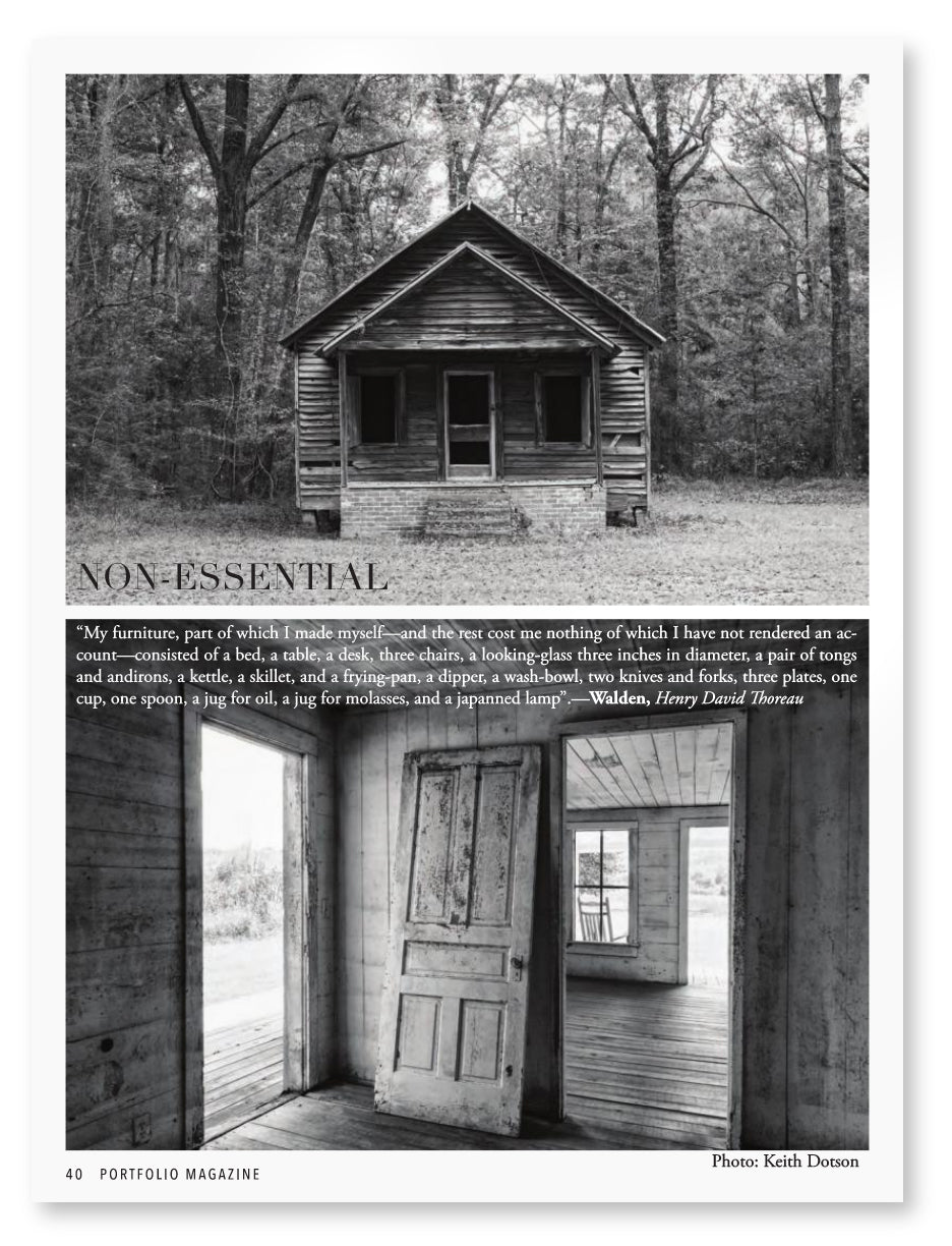 Two black and white photographs by Keith Dotson are overlaid with a quote from Thoreau.