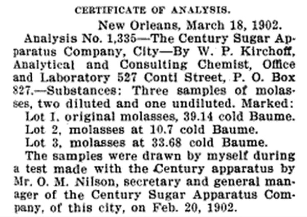 Seen in the The Planter and Sugar Manufacturer, Volume 28, 1902: The Century Sugar Apparatus Company.