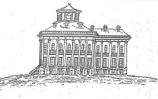 The only known sketch of Windsor Mansion intact, drawn in 1863 by Henry Otis Dwight, a Union officer from Ohio