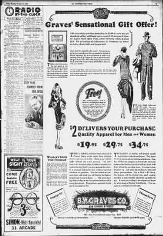 Historic ad published in The Tennessean newspaper on Oct. 11, 1927
