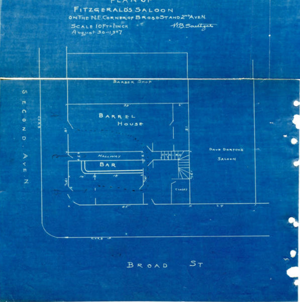 "Blueprint labeled ""Plan of Fitzgerald's Saloon on the N.E. Corner of Broad St. and 2nd Ave. N. Scale 10 ft= 1 inch., August 30-1907"" and bearing the signature of W.B. Southgate. The blueprint divides areas into ""Barrel House"" and ""Bar"" and shows ""Dave Dortch's Saloon"" next door facing Broad Street and ""Barbershop"" behind on 2nd Avenue N."