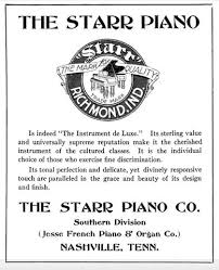 1911 Ad for Starr Piano Company's Nashville showroom