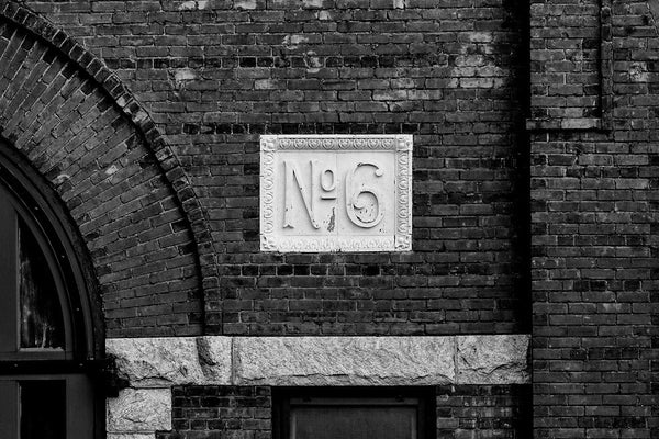 Black and white architectural detail photograph of Atlanta's historic Old Fire Station No. 6.