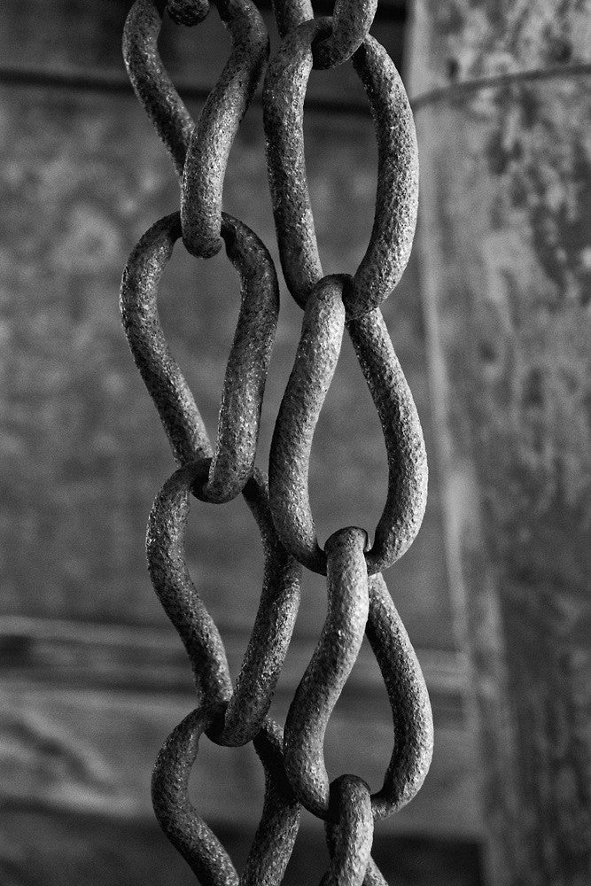 Black and white photograph of an antique chain with teardrop-shaped links.