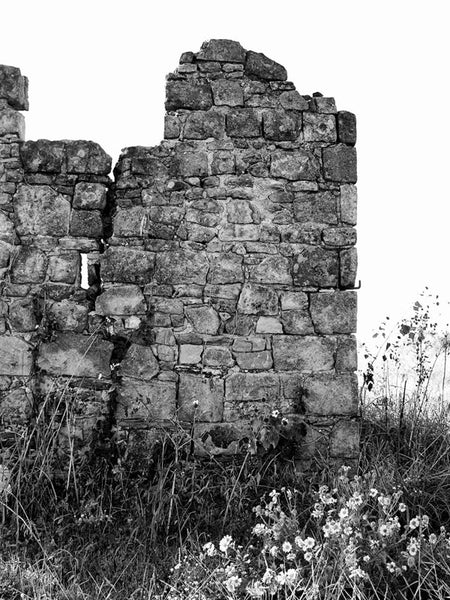 Black and white photograph of a ruined frontier house in Comanche country. Pontotoc, Texas was first settled in 1859 on the frontier of West Central Texas in what was, at the time, Comanche territory. It wasn't Comanches but typhoid that plagued the town in the 1880s, creating a need for two cemeteries.