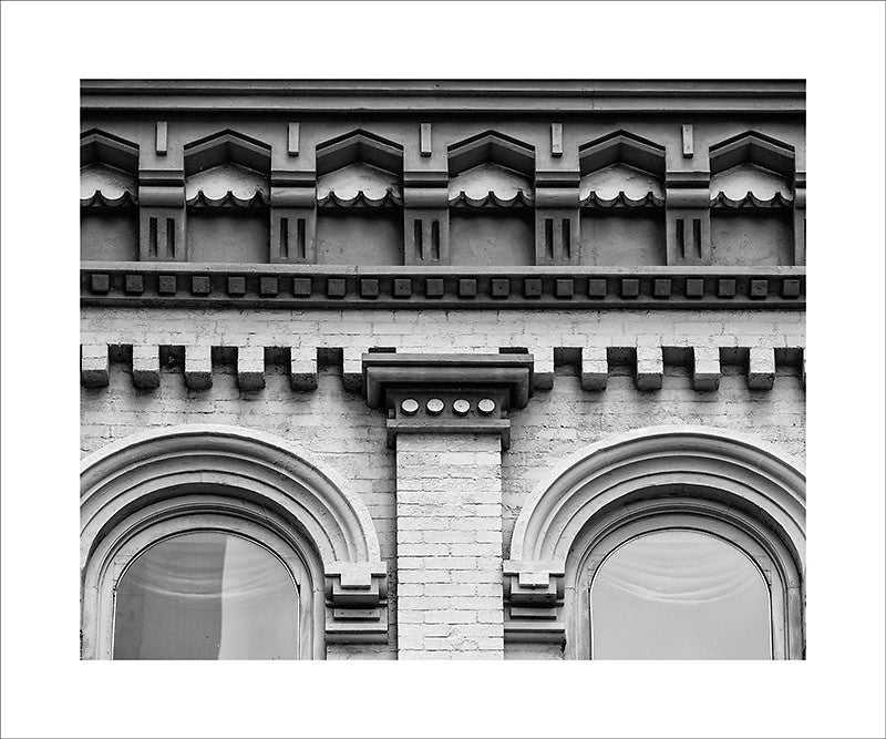 Black and white architectural photograph of a beautiful piece of historic roofline on Nashville's 2nd Avenue. This photograph can be seen in the Nashville Room, a private dining room at Nashville's amazing Prima Restaurant in the Gulch neighborhood.