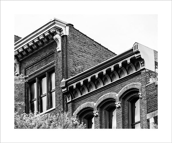 "Black and white photograph of the beautiful, historic roofline on Nashville's 2nd Avenue.  This photograph can be seen in the Nashville Room, a private dining room at Nashville's amazing Prima Restaurant in the Gulch neighborhood. At 16"" x 20,"" this is the exact size and finish as the print at Prima -- just add your own top mat and framing.  This photograph is also available in other sizes. Go to the main Nashville gallery."