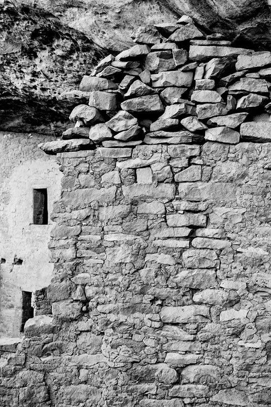 Black and white fine art photograph of the ancient walls at Mesa Verde, Colorado.
