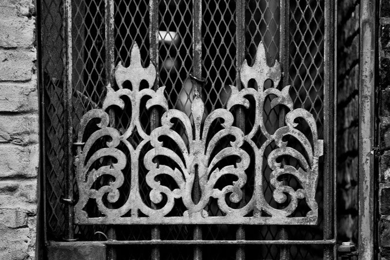 Black and white architectural detail photograph of unique fanciful metal decoration on a locked steel door in the French Quarter of New Orleans.