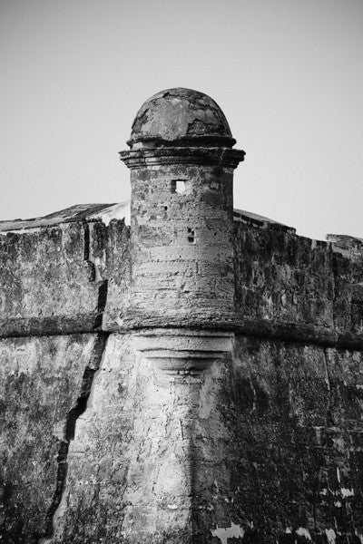 Black and white detail photograph of historic Castillo de San Marcos, the old Spanish fort built on Matanzas Bay in 1695, at St. Augustine, Florida.   Castillo de San Marcos is the oldest masonry fort in the United States.