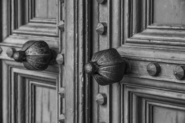 Black and white photograph of historic church doors in St. Augustine, Florida