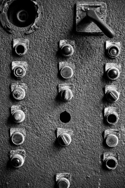 Black and white photograph of rusty old control panel at Sloss Furnaces in Birmingham, Alabama.