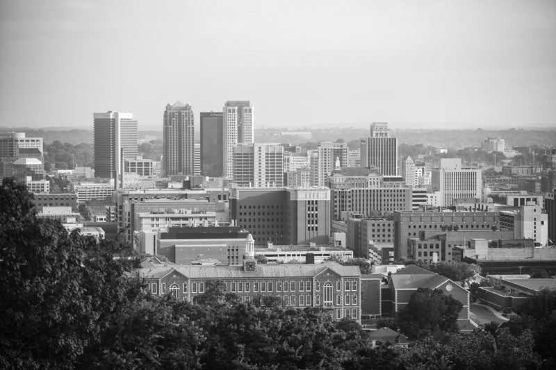 Black and white photograph of downtown birmingham alabama