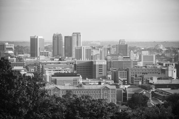 Black and white photograph of downtown Birmingham, Alabama.