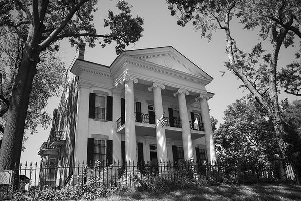 Black and white photograph of the beautiful and historic Chantillon-DeMenil Mansion in St. Louis, Missouri.
