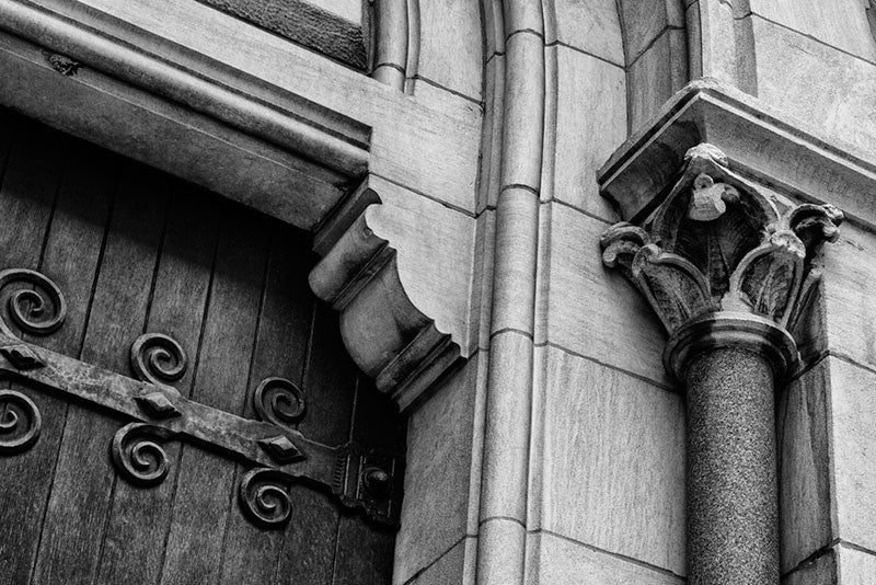 Black and white architectural photograph of the entrance of historic Christ Church on Broadway in Nashville, Tennessee.