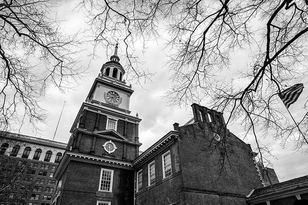 Black and white photograph of Independence Hall, one of the cradles of American Independence, photographed on a late autumn day in Philadelphia.